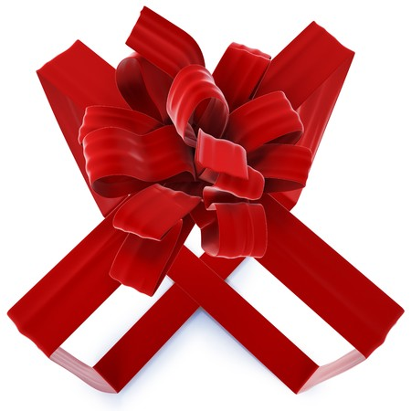 invisible gift bandaged velvet ribbon. isolated on white. photo