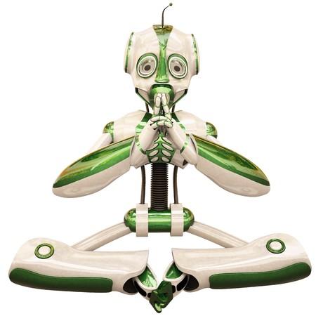 meditator: meditator robot. isolated on white. Stock Photo