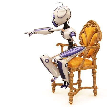 robot is sitting on a chair and pointed his finger. photo