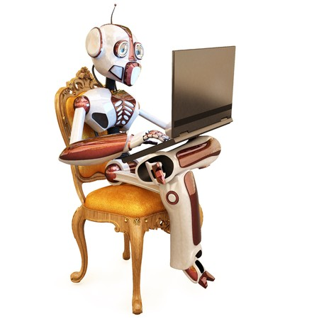 hard love: robot is sitting on a chair and holding a laptop. isolated on white.