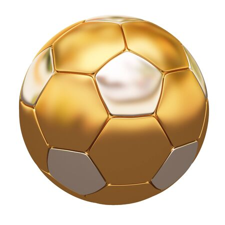 metal ball: soccer ball made of gold and silver. isolated on white. Stock Photo