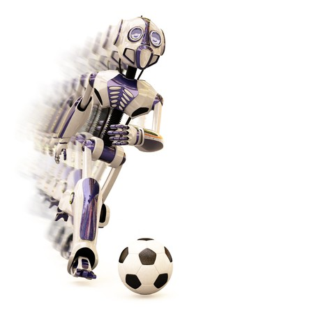 robot dribbles the ball quickly, leaving behind a trail. photo