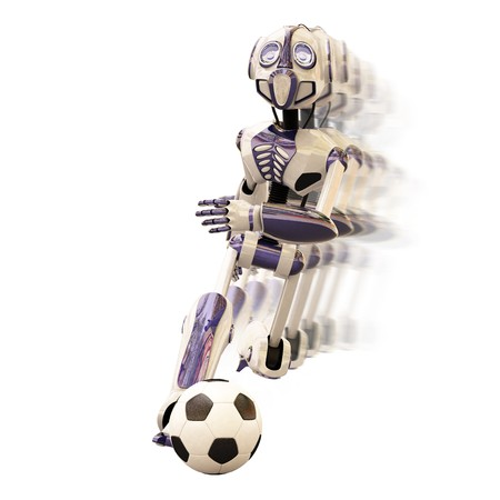 robot dribbles the ball quickly, leaving behind a trail. Stock Photo - 7808562