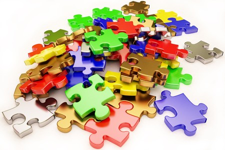 chaos: the background unsolved bunch of jigsaw puzzles pieces