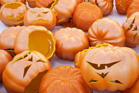 a large pile of Halloween pumpkins. background photo