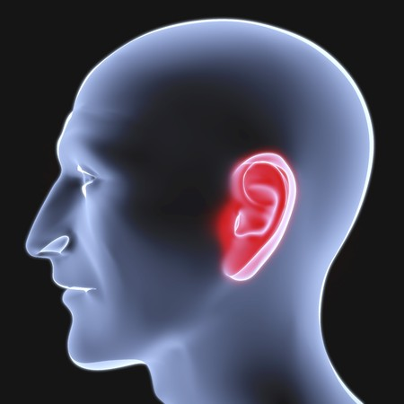 allocated: head of a man under the X-rays. ear is highlighted in red. Stock Photo