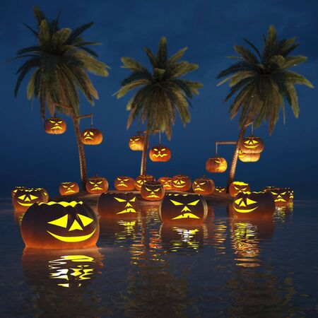 carved: Halloween pumpkins on a deserted tropical island. 3d image.