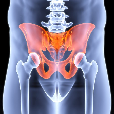 male pelvis under the X-rays. pelvis is highlighted in red. Stock Photo