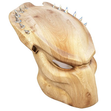 wooden mask: Wooden mask of a predator. isolated on white.