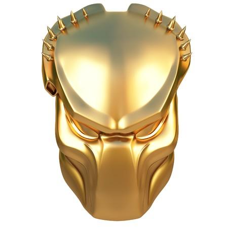 golden mask predator. isolated on white. photo