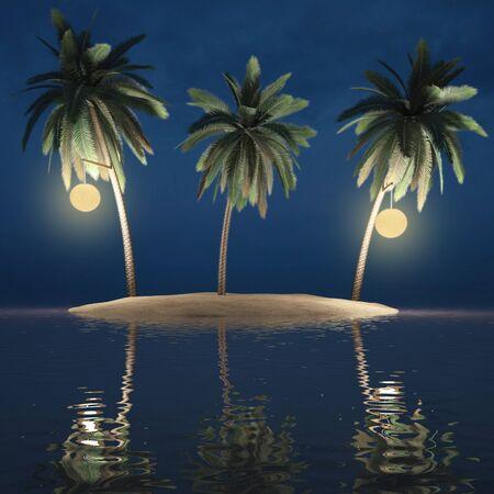 three palms on a desert island. on palm trees are lit lanterns. photo