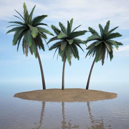 torches: three palms on a desert island. 3d image.