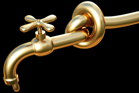 tied in a knot golden tap. a drop of gold flowing from the tap. photo