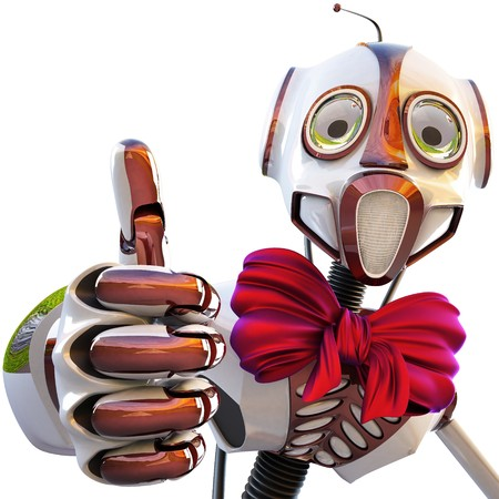 robot with a bow at the neck showing thumb up isolated on white background photo