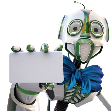 robot with a blue bow around his neck handing a blank business card over white background photo
