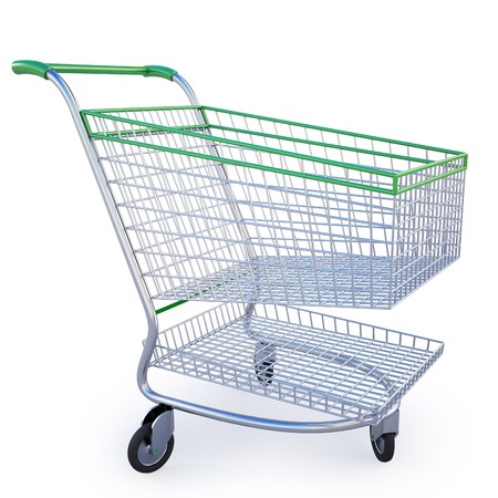 empty shopping cart isolated on white inclluding clipping path. photo