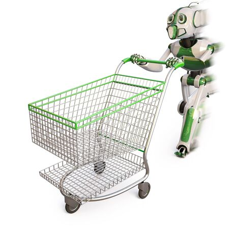robot runs pushing a shopping cart. isolated on white including clipping path. photo