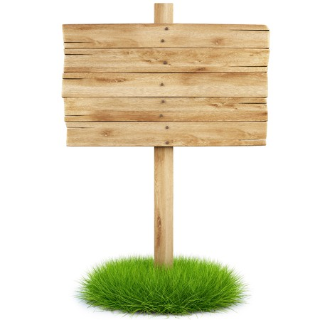 advertise: old wooden billboard on the grass isolated on white background including clipping path Stock Photo