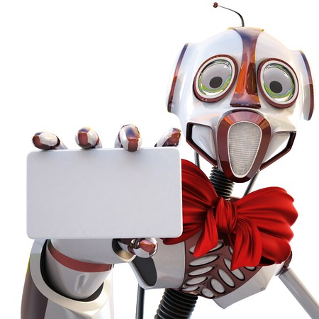 robot with a red bow around his neck handing a blank business card over white background photo