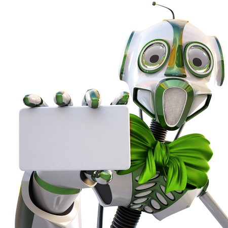 robot with a green bow around his neck handing a blank business card over white background photo