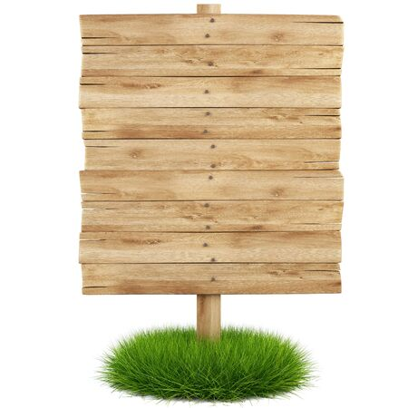 old wooden billboard on the grass isolated on white background including clipping path Stock Photo - 8144013