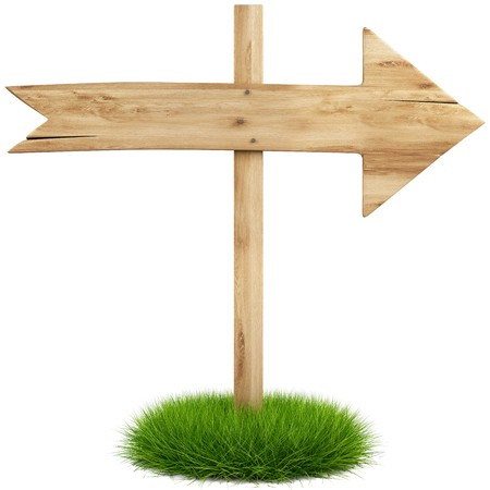 old wooden arrow on the grass isolated on white background including clipping path photo