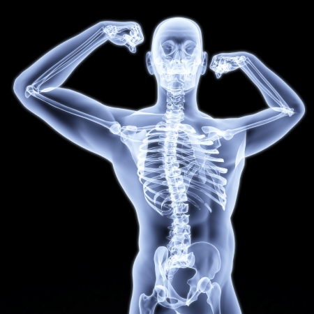 fortaleza: hombre muestra b�ceps bajo los rayos X.