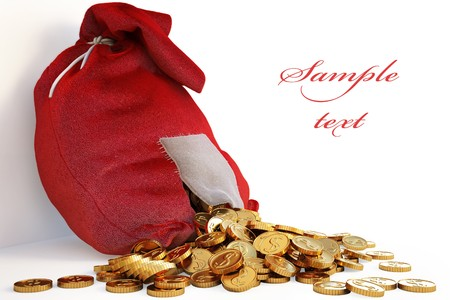 Bag of gold coins: pile of gold coins spill out of the red bag with a patch. with clipping path