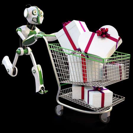 robot runs pushing a shopping cart with gifts. Stock Photo - 8170054