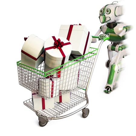 robot runs pushing a shopping cart with gifts.  photo