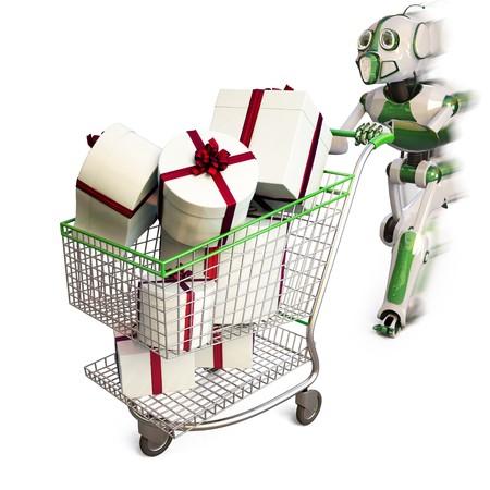 robot runs pushing a shopping cart with gifts.  photo