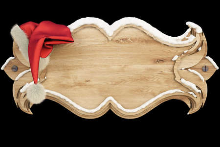 wooden hat: on a wooden banner covered with snow hanging hat of Santa Claus.  Stock Photo