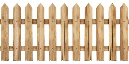 picket fence: a wooden fence isolated on white