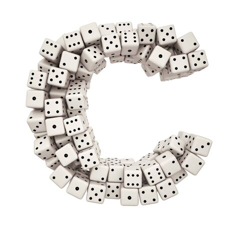 One letter of pile of dice alphabet.  photo