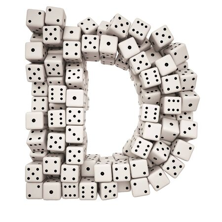 group of objects: One letter of pile of dice alphabet.  Stock Photo