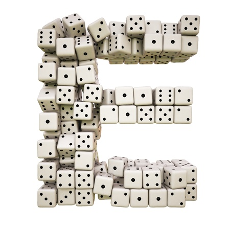 One letter of pile of dice alphabet.  Stock Photo
