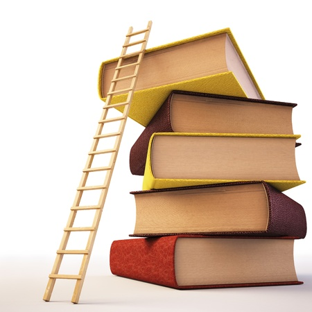 ladder of success: Wooden ladder standing near books pile.