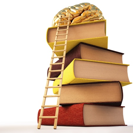 medium group of object: Wooden ladder standing near books pile. on top of the book is a gold brain.   Stock Photo