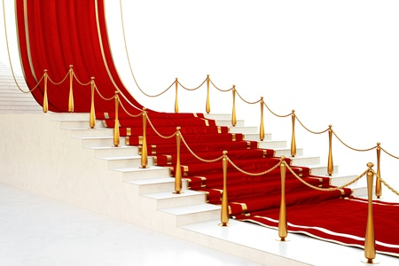 Red carpet to the stairs lined with gold stanchions on a white background photo