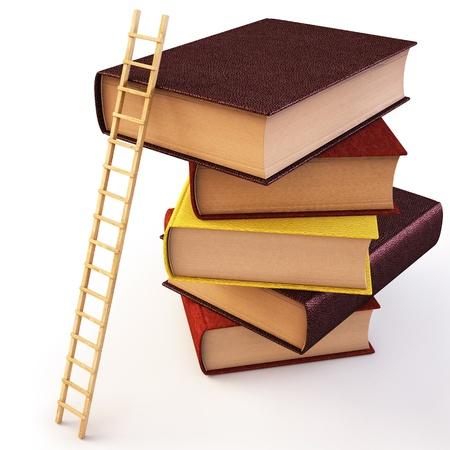 Wooden ladder standing near books pile.  Stock Photo - 8234409