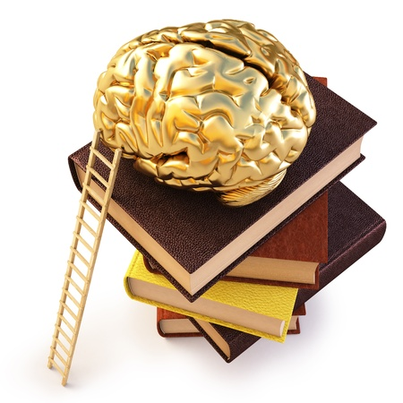 Wooden ladder standing near books pile. on top of the book is a gold brain.   photo