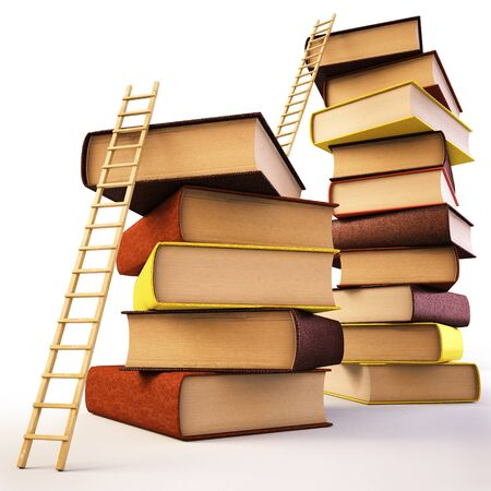 novels: Wooden ladder standing near books pile.