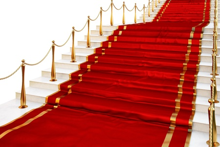 red carpet background: Red carpet to the stairs lined with gold stanchions on a white background