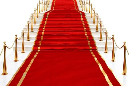 Alfombra roja a las escaleras llenas de pilares de oro sobre un fondo blanco  Foto de archivo