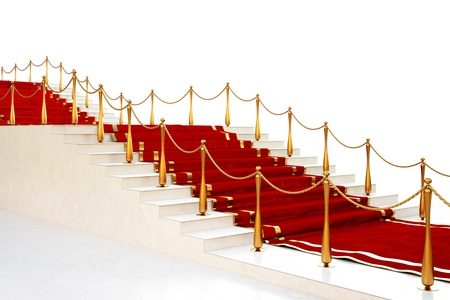 Red carpet to the stairs lined with gold stanchions on a white background Stock Photo - 8234405