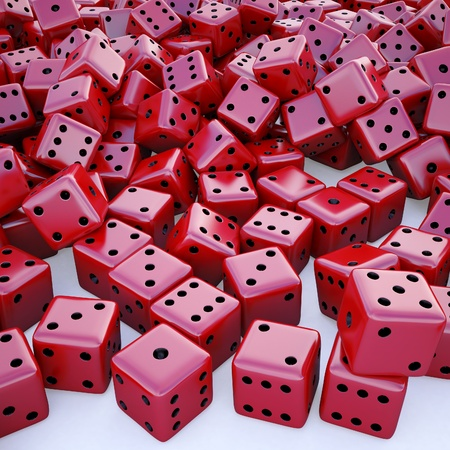 a big pile of red dice. 3D Image photo