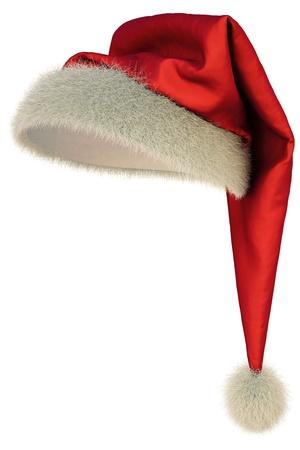 산타 모자: red Santa Claus hat on white background  스톡 사진