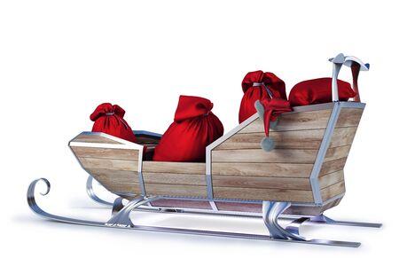 ?    ?     ?    ? �sledge: trineo de Santa Claus con una bolsa de regalos. aislados en blanco