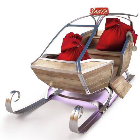 papa noel trineo: trineo de Santa Claus con una bolsa de regalos. aislados en blanco