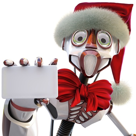 robot in the hat of Santa Claus handing a blank business card. isolated on white.  photo